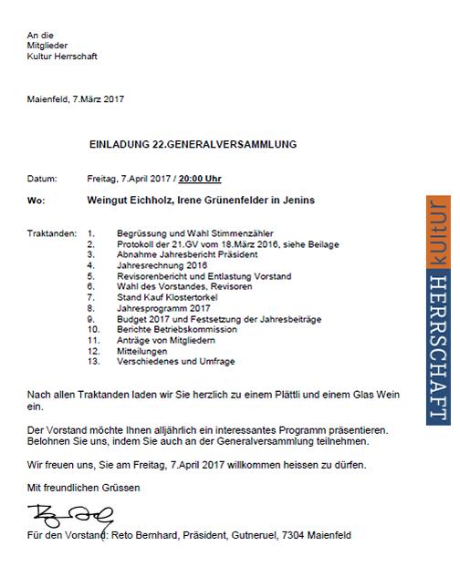Einladung GV 2017