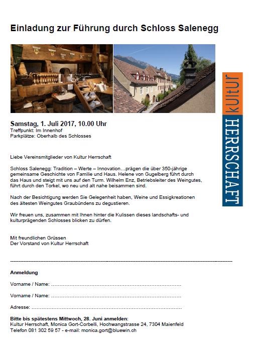 Einladung Fuehrung Schloss Salenegg