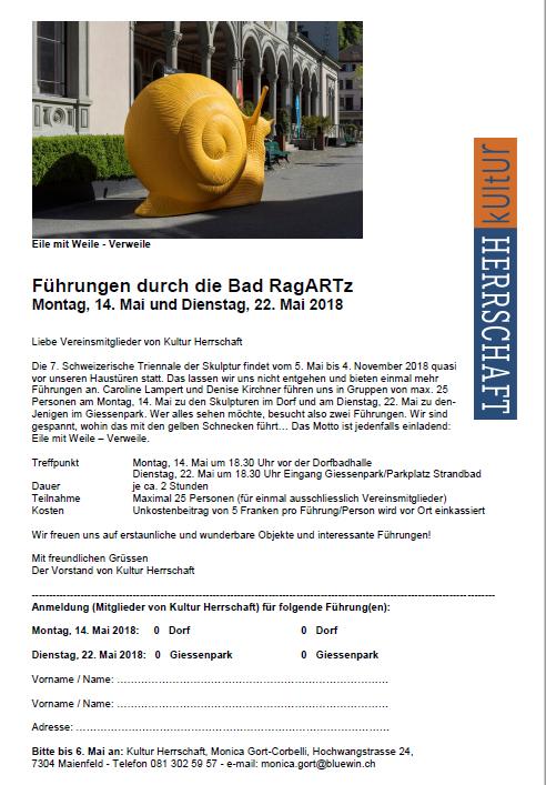 Einladung Skulpturenührung en Bad RagARTz 2018